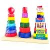 ของเล่นไม้เสริมพัฒนาการห่วงเรียงซ้อนเรขาคณิต 3 หลัก ผลิตจากวัสดุไม้ สีสันสดใส
