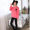 เสื้อยืดกันหนาวแขนยาว คอกลม สีชมพู