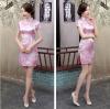 ชุดกี่เพ้าคอจีนแขนสั้น ลายดอกไม้สีชมพู