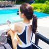 ชุดว่ายน้ำวันพีชสีดำแถบสีขาว มีตะขอด้านหลังพร้อมยกทรงเสริมฟองน้ำ