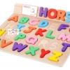กระดานจิ๊กซอว์ตัวอักษรไม้ + การ์ดคำศัพท์เรียนรู้ภาษาอังกฤษ