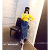 เสื้อยืดแฟชั่นแขนยาวคอกลม สีเหลือง