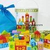 ของเล่นเสริมพัฒนาการ ของเล่น ของเล่นไม้ บล็อคไม้สร้างเมือง 100 ชิ้นในถัง ลายสอนA-Z คำศัพท์ ตัวเลขเเละบวกลบ พร้อมเเผ่นจิ๊กซอว์