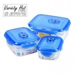 กล่องเก็บอาหารสูญญากาศ ชุด 3 ใบ อุ่นไมโครเวฟและแช่ช่องแข็งได้ ฝาล็อคแน่นกันหก พร้อมตัวตั้งวันที่หมดอายุ