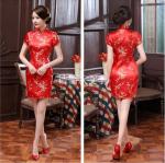 ชุดกี่เพ้าคอจีนแขนสั้น ลายดอกสีแดง