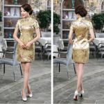 ชุดกี่เพ้าคอจีนแขนสั้น ลายดอกสีทอง