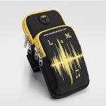 สายรัดแขนวิ่ง สีดำ Armband ใส่โทรศัพท์ กันน้ำ ช่องใส่ของ 2 ช่อง