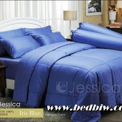 ชุดเครื่องนอน ผ้าปูที่นอน JESSICA สีพื้น cotton100% ซิลค์ซายน์ สี Iris Blue