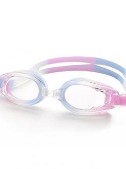 แว่นตาว่ายน้ำสีชมพูฟ้าขาว