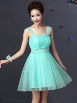 ชุดเดรสออกงานสีฟ้าอมเขียว หน้าอกถักไขว้สลับกันน่ารักๆ