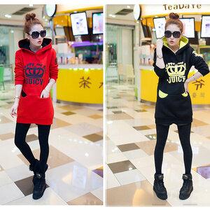 เสื้อกันหนาวแขนยาว ผ้าฝ้ายกำมะหยี่ สีแดง และ สีดำ