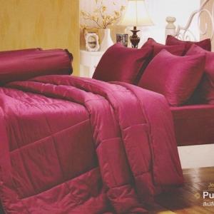 ชุดเครื่องนอน Jessica สีพื้น cotton 100 ซิลค์ ซายน์ สีเปลือกมังคุด Purple