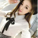 เสื้อเชิ๊ตแฟชั่นเกาหลีสีขาว แยกชิ้นพร้อมโบสีดำ
