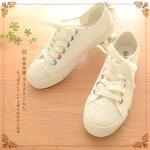 Pre-Order รองเท้าผ้าใบสีขาว แต่งรูร้อยเชือกสีสดใส