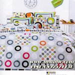 ชุดเครื่องนอนtoto ชุดผ้าปูที่นอนtoto ลายวงกลมหลายสีสัน รุ่น TT267
